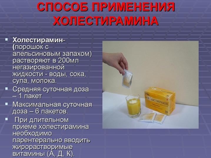 применение холестирамина