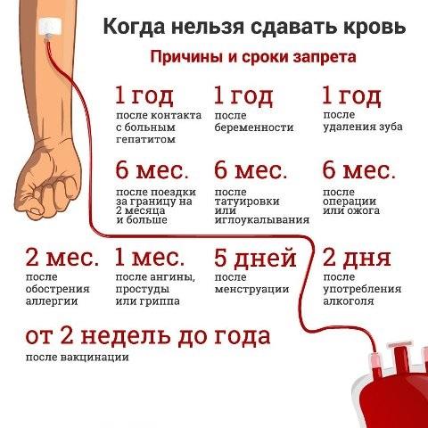 Когда нельзя сдавать кровь донорам